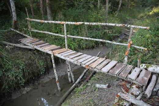 """diese Stegbrücke über die """"Radlacher Laue"""" wurde von A. Rauter, Petutschnig Albert, Johanna u. Andrew errichtet"""