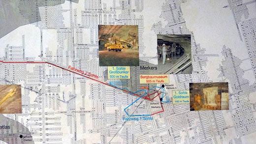 Le plan montre des centaines de galeries se coupant à angle droit.