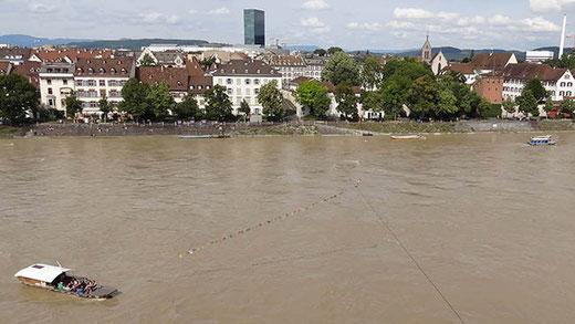 Le bac à traille du Münster, avec son câble coulissant.