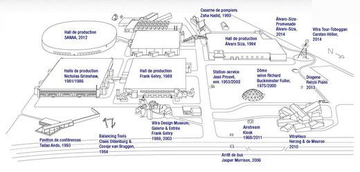 Plan du Vitra Campus, avec le nom des créateurs des différents éléments.