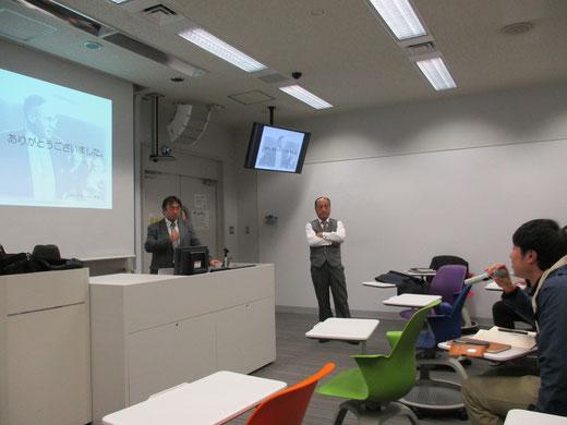 ※学生たちとの活発な質疑応答。中央は明治大学の阪井和男先生です。