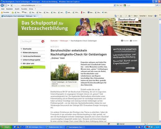 Eine kleine Sensation: Zum ersten Mal, seitdem wir an der Schule Projekte zu Geldanlagen machen, wurde von einer Verbraucherschutzorganisation auf uns verlinkt!!! (Screenshot vom 15.09.2013)