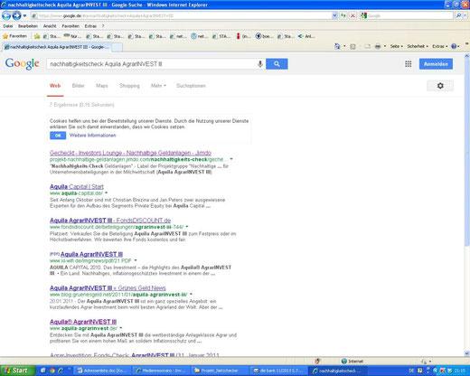 """Mit """"Nachhaltigkeitscheck"""" und Produktnamen (z.B. """"Aquila AgrarINVEST III"""") kommt man bei Google inzwischen schon direkt zu unseren Steckbriefen (14.11.2013)"""
