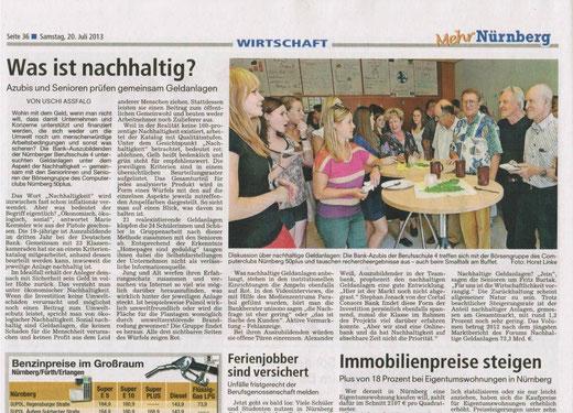 """Zeitungsartikel zum Projekt """"Nachhaltige Geldanlagen"""""""