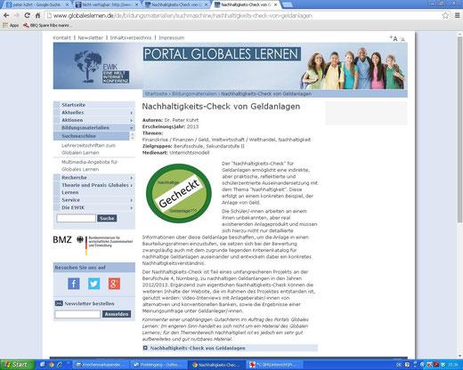 """Linkempfehlung auf dem Portal """"Globales Lernen"""" (Screenshot vom 08.07.2014)"""