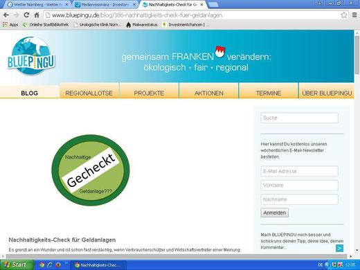Empfehlung auf einer ökologischen Verbraucherplattform (Screenshot vom 19.06.2015)