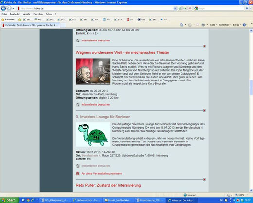 Veranstaltungsankündigung auf Kubiss.de (Screenshot vom 17.07.2013)