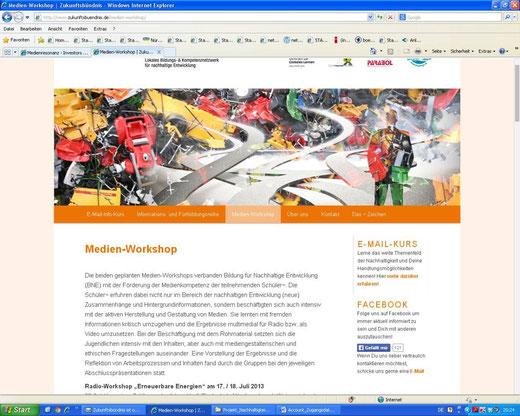 Linkempfehlung bei Zukunftsbündnis.de (Screenshot vom 03.04.2014)