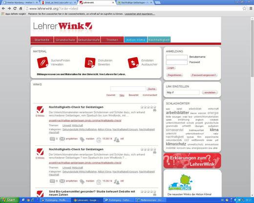 """""""Lehrerwink"""" des Bundesumweltministeriums (Screenshot vom 05.09.2014)"""