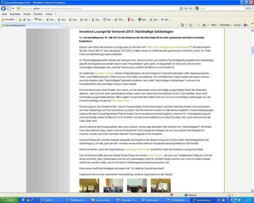 Bericht über die Investors Lounge aus Sicht einer Teilnehmerin im Veranstaltungsarchiv der UDI-Homepage (Screenshot vom 22.07.2013)