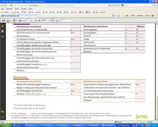 FNG-Nachhaltigkeitsprofilblatt für einen Investmentfonds (Auszug, insgesamt 2 Seiten)