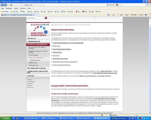 Empfehlung auf dem Bildungsserver von Rheinland-Pfalz (Screenshot vom 09.09.2013)