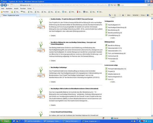 Hinweis auf Arbeitsauftrag und Projekt auf dem Deutschen Bildungsserver (Screenshot vom 22.07.2013)