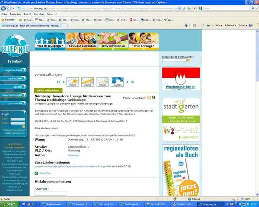 Veranstaltungsankündigung auf Bluepingu.de (Screenshot vom 17.07.2013)