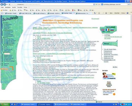 Linkempfehlung auf Schulweb.de (Screenshot vom 21.01.2014)