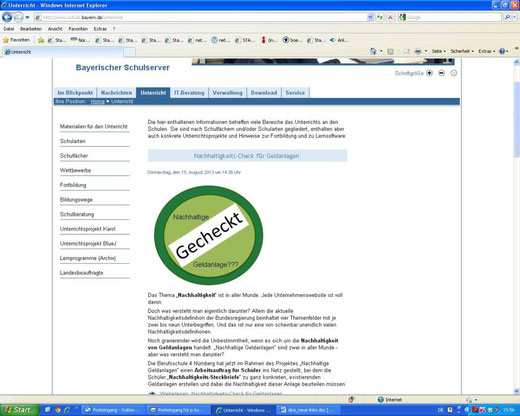 Empfehlung auf dem Bayerischen Schulserver (Screenshot vom 16.08.2013)