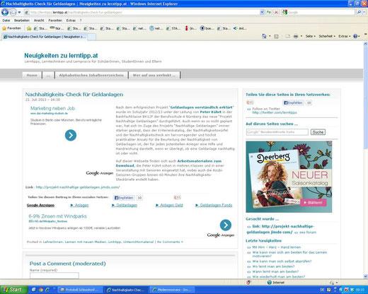 Linkempfehlung auf einem österreichischen Bildungsserver (Screenshot vom 30.07.2013)