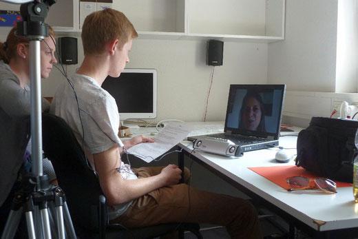 Noch schnell ein Skype-Interview mit München