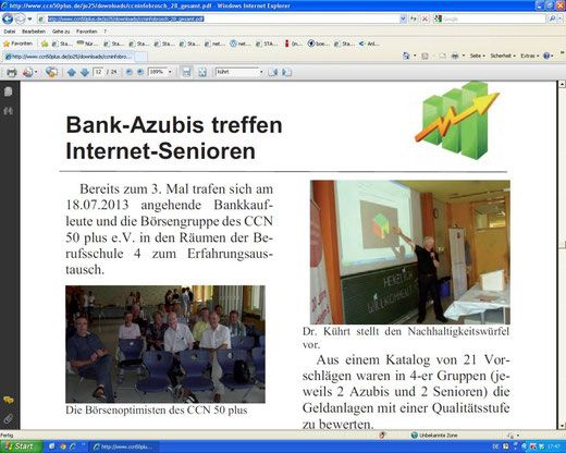 "Artikel in den ""CCN 50 plus Informationen"", Heft 28 / Nov. 2013, S.12"