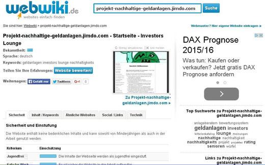 """""""Die Website enthält keine bedenklichen Inhalte und kann sowohl von Minderjährigen als auch in der Arbeit genutzt werden."""" Diese Einschätzung von WebWiki freut uns natürlich. (Screenshot vom 29.10.2015)"""
