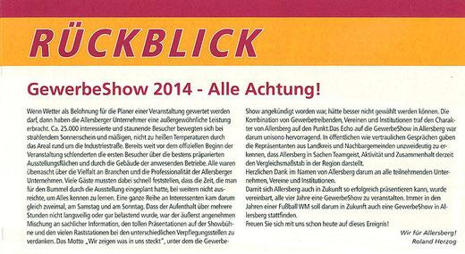 Artikel: GewerbeShow 2014 - Alle Achtung (Roland Herzog)