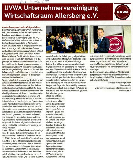 Artikel: Mitteilungsblatt Markt Allersberg, März 2014