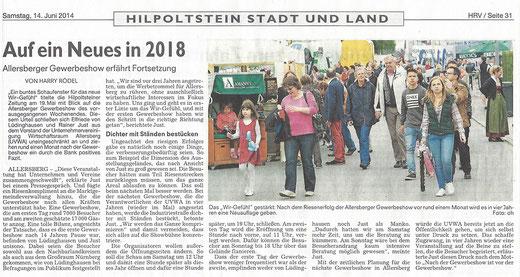 Artikel: Roth Hilpoltsteiner Volkszeitung, 14.06.2014