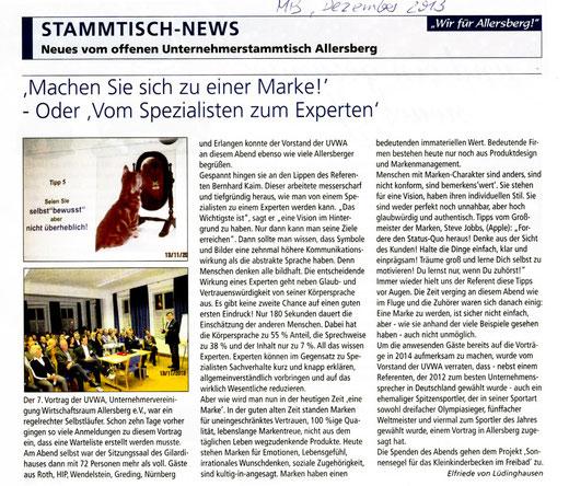 Artikel: Mitteilungsblatt Allersberg, Dezember 2014