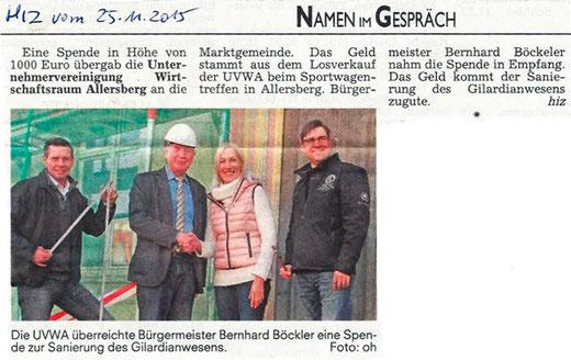 Artikel Hilpoltsteiner Zeitung, Freitag, 25.11.2015 - Spendenübergabe Sportwagentreffen