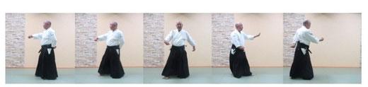 画像① 単独基本動作右半身入り身転換から体の変更:3から4コマ目、丹田に巡って脇の下に出来る隙間へ足腰を進めて入り身転換。5コマ目、左手足を後ろに置き換えて体の変更。