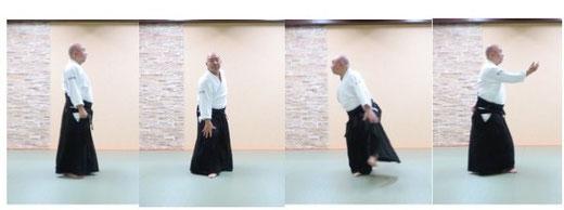 単独基本動作前方回転側面像 右端は3回目の軸足交代(右)に加え、左足を陰の魄氣の軸足として内側に90度その場で踏み替える(4回目)。