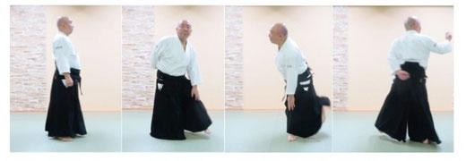 単独基本動作後方回転側面像 右端の画像で左足の軸足交代(3回目)のあと、右足先は前方に90度その場で置き換えるだけであり、陰の魄氣であるから軸足ではない。