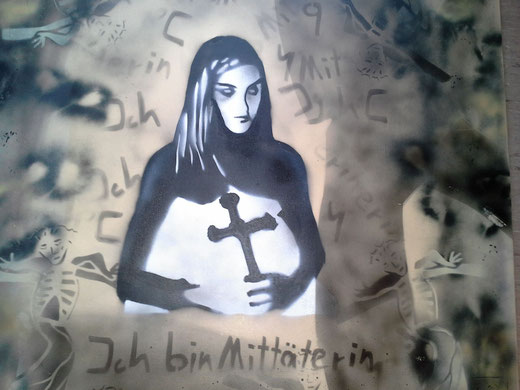 Frank Sacco: Junge Autistin.................     Street-Art in Bremen Überseestadt