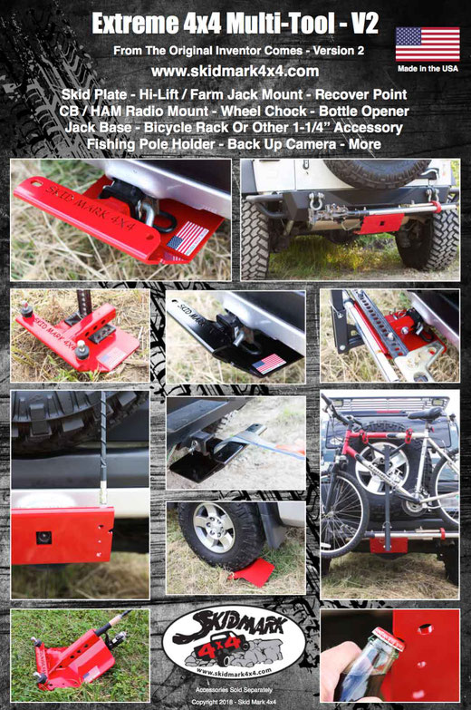 4x4 Off Road Mult-Tool Skid Plate, Hitch Skid Plate, Hi Lift Mount, Farm Jack Mount, Recovery Point, CB Mount, Wheel Chock, Bottle Opener, Jack Base, Bicycle Rack, 1-1/4 Accessory, Back-Up Camera