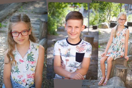 Verschiedene Fotoportraits an einer Grundschule