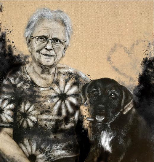 Oma mit Kalle, Acryl auf Leinwand, 80x80 cm