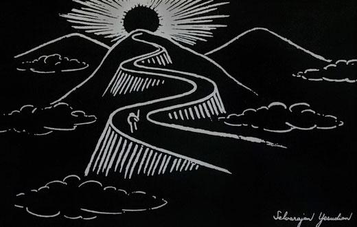 """""""Der ewige Wanderer auf dem Weg zum Licht"""" Wanddtafelbild von Selvarajan Yesuidan"""