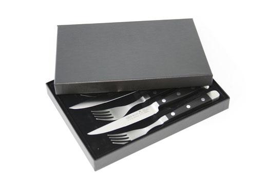 Güde Steakmesser mit Tafelgabel der Serie Alpha im Geschenkkarton