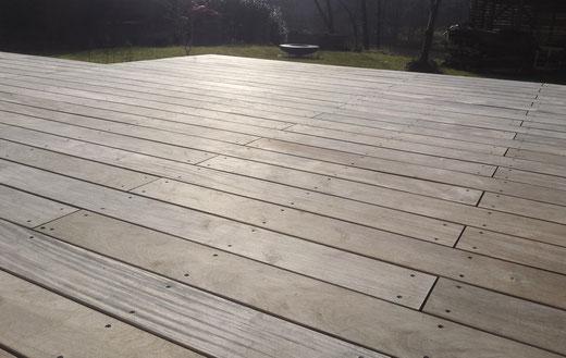 Garapa Terrasse nach Reinigung