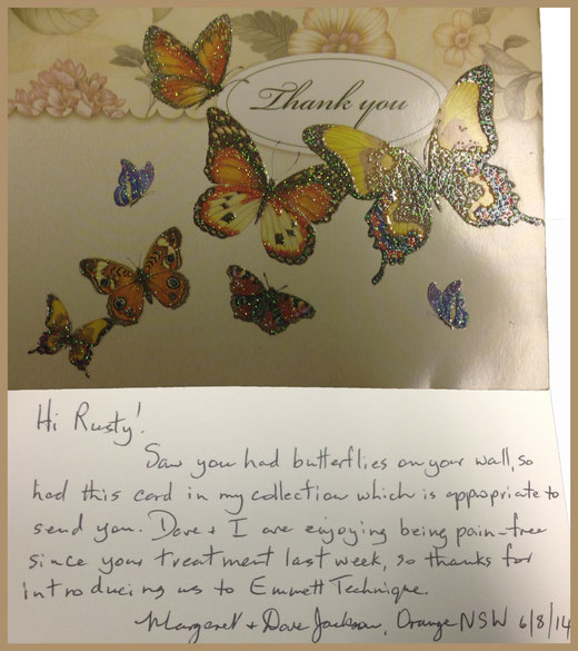 This card was from the lovely couple I blogged about in my Body Balance story.