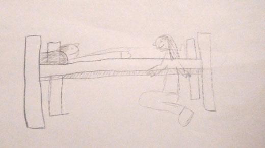 Zeichnung von Kim und Rea vom Klangerlebnis