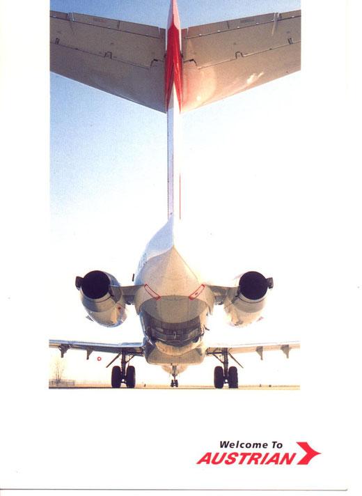 Postkarte von Austrian Airlines mit Heckansicht einer MD-87/Courtesy: Austrian Airlines