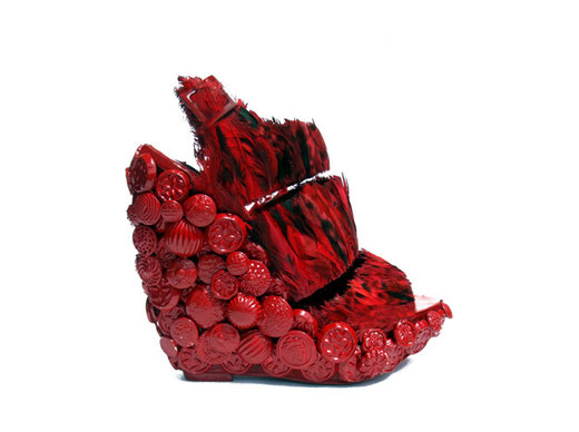 shoes from: Zack Lo- Virago Red Flame Platform Sandal