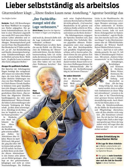 Artikel in der Westfälischen Rundschau vom 16.5.2014