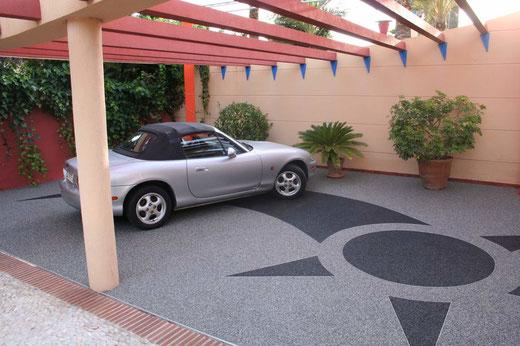 parking en résine, sol extérieur résine