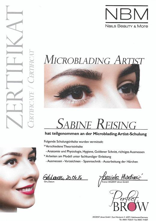 Zertifikat Microblading Artist Sabine Reising