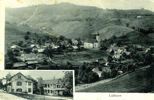 Luthern Dorf, Ansichtskarte um 1910, von Luthermatt, mit Handlung, Foto Friebel Sursee, ohne Poststempel  (LD 2)