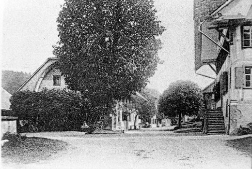 Luthern Dorf, Sonnenplatz, Ausschnitt aus Neujahrskarte von Pfarrer Augner an Regens Dr. F. Segesser, Poststempel Luthern 31. Dez. 1906  (LD 9b)