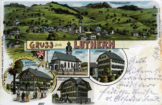 Luthern Dorf, gezeichnete Ansichtskarte handcoloriert, Verlag Siegfried Birrer Gasthaus Sonne Luthern, Poststempel 9. Juni 1902  (LD 1)