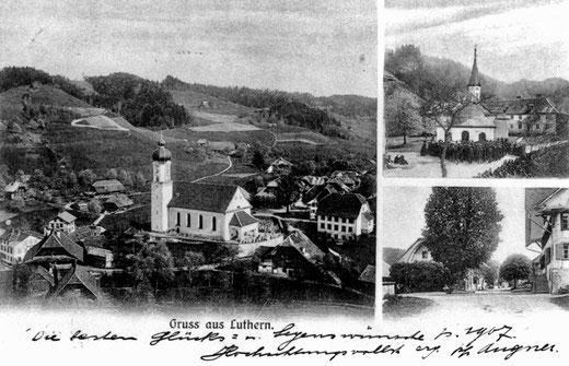 Luthern Dorf, Gruss von Pfarrer Augner zum Neujahr 1907, Poststempel Luthern 31. Dez 1906  (LD 9a)